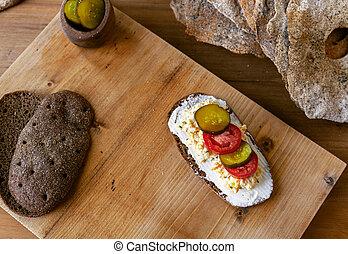 space., cheese., creame, lay., emparedado, cima plana, escandinavo, breakfast., abierto, tradicional, copia, vista