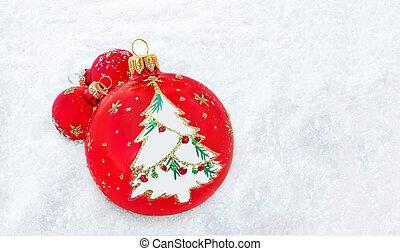 space., copia, composición, snow., navidad, pelotas, rojo