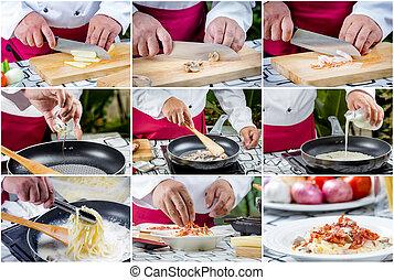 Spaghetti carbonara con tocino