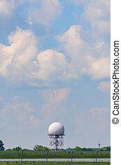 sphere., radar, antena, forma, aeropuerto