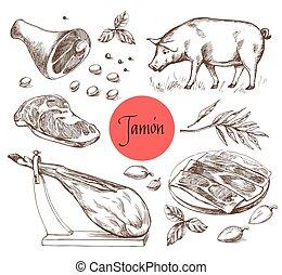 spices., jamon, vendimia, grabado, style., ilustración, menú, carne, carne, carne de vaca