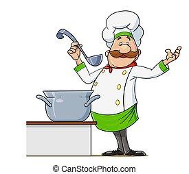 spoon., vector., character., cocinero, caricatura, bigote