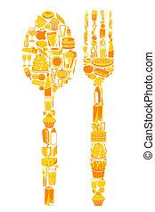 Spoon y Fork con icono de comida