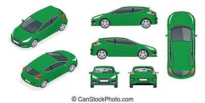 Sportcar o hatchback vehículo. Un coche todoterreno con antecedentes blancos, plantilla para marcas y publicidad. Vector temporal aislado en White View delantero, trasero, lado, superior e isometría