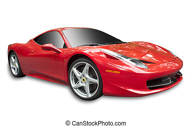 sportscar, rojo, aislado