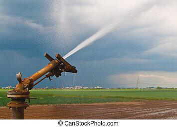 Spray de agua en agricultura