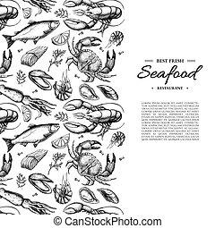 squid., ostra, illustration., mariscos, caviar, encuadrado, camarón, vector, mejillón, dibujado, mano, langosta, cangrejo