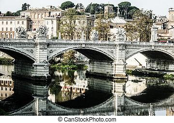 St peters basilica y tibra de río en roma, Italia