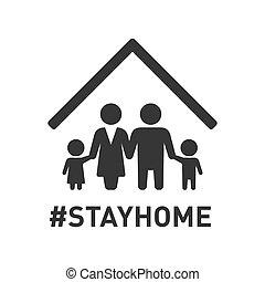 stayhome, icon., vector, familia , roof., señal, protección, debajo, coronavirus, hashtag