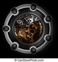 steampunk, resumen, máquina, mechanism., engranajes, oil.