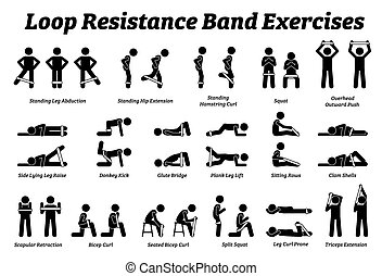 step., entrenamiento, resistencia, mini, técnicas, estirar, lazo, ejercicios, paso, banda