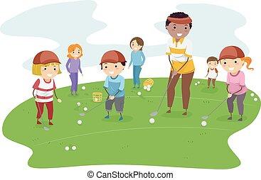 stickman, lección, niños, golf