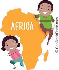 stickman, niños, áfrica, ilustración, continente