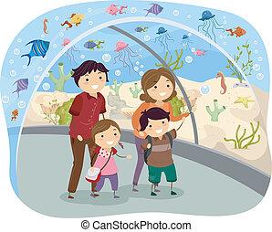 stickman, oceanarium, familia , visitar