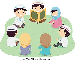stickman, quran, niños, ilustración, lectura