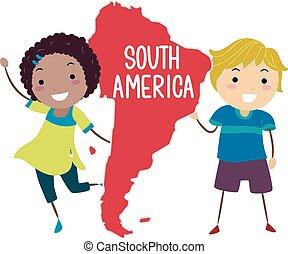 stickman, sudamérica, niños, ilustración, continente