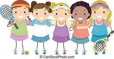 stickman, tenis, niñas