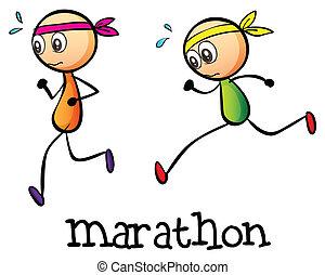 stickmen, dos, maratón, entre