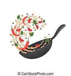 Stir Fry. Ilustración de vectores de cocina. Volteando fideos asiáticos en una sartén. Estilo de dibujos animados. Plano