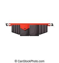 stock., cinturón, icono, herramienta, logo., diseño, vector, toolbag, gráfico