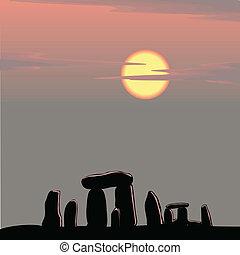 stonehenge, anochecer