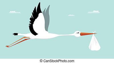 Stork entregando bebé - es un niño