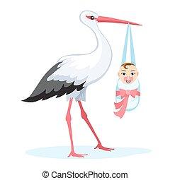 Stork llevando a un bebé aislado en blanco