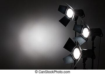studio., reflectores, varios, fondo negro, foto