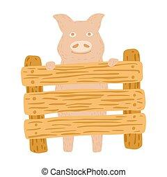 style., caricatura, divertido, aislado, garabato, blanco, cerdo, fondo., color, carácter, rosa, cerca, estante