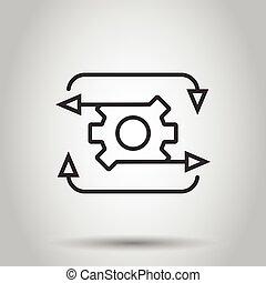 style., engranaje, ilustración, aislado, empresa / negocio, eficaz, organización, icono, concept., workflow, fondo., vector, proceso, blanco, plano