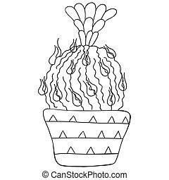 style., negro, pot., cacto, blanco, vector., aislado, largo, monocromo, flower., astrophytum, escandinavo, espinas dorsales