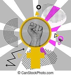style., ser, it., fondo., strong., señal de mano, gris, ilustración, venus, protesta, resumen, vector, espejo, arte, lata, taponazo, rayos sol, feminismo, puño