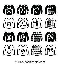 suéter, navidad, feo, puente