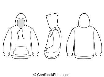 suéter, vector, encapuchado, illustration.