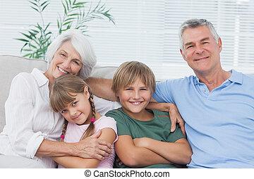 su, abuelos, nietos, retrato