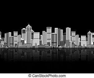 su, arte, plano de fondo, seamless, cityscape, diseño urbano