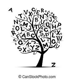 su, cartas, arte, árbol, diseño, alfabeto