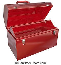 su, copyspace, o, rojo, mensaje en blanco, copia, caja de herramientas, vacío
