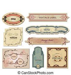 su, etiquetas, vector, conjunto, vendimia, design.