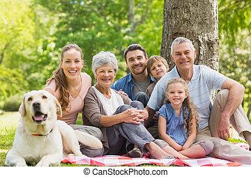 su, familia , extendido, mascota, perro