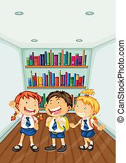 su, llevando, tres, uniformes, niños, escuela