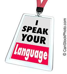 su, más grande, idioma, oferta, comunicación, etiqueta, comprensión, foster, palabras, servicios, traducción, hablar, insignia, o, nombre