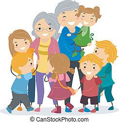 su, niños, abuelos
