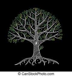 su, raíces, árbol, diseño