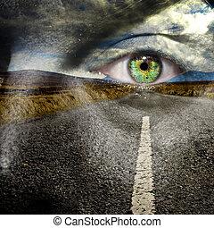 su, retener, ojo, camino
