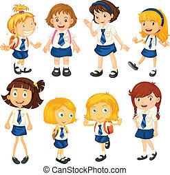 su, uniformes, ocho, colegialas