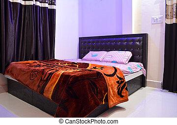 suave, cama, simple, cómodo, dormitorio