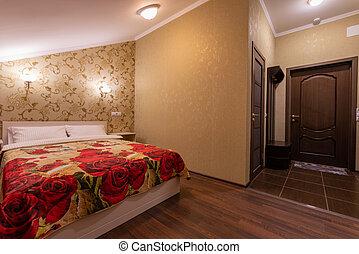 suave, interior, dormitorio, cama, cómodo