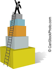 subida, empresa / negocio, escalera, hombre, cima, éxito