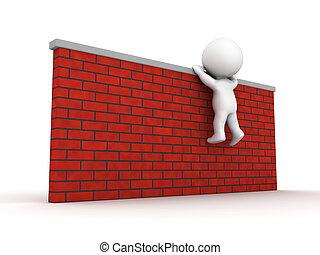 subida, tratar, pared, hombre, 3d